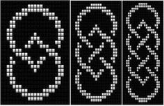 Celtic Knot Ribbon 2 (loom) by Katherina Kostinsky Loom Bracelet Patterns, Seed Bead Patterns, Bead Loom Bracelets, Peyote Patterns, Beading Patterns, Cross Stitch Patterns, Beading Ideas, Beading Supplies, Cross Stitches