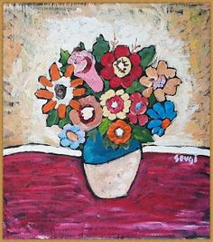 You Will Love Our Lovely Designs :): Acrylic Colour Painting - Flowers in Vase