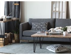 Industrial Modern: the Carine sofa Modern Sofa, Modern Furniture, Cabin Furniture, Coffee Table Structube, Dark Grey Couches, Black Sofa, Mango Wood Coffee Table, Coffee Tables, Table Cafe