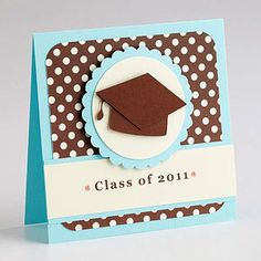Really cute graduation card. Switch out the grad cap for baby feet and the Class of 2011 with some baby related words/phrases and you have a really cute baby boy card.
