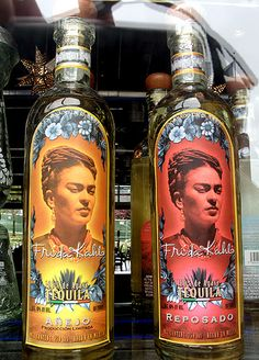 i don't especially care for tequila but i LOVE frida kahlo. kind of weird seeing her image on a tequila bottle. photographed through the window of el vitral restaurant by petco park. Diego Rivera Frida Kahlo, Frida And Diego, Tequila, Kathe Kollwitz, Kahlo Paintings, Chalk Pastels, Illuminated Letters, Wood Engraving, Linocut Prints