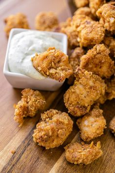 Baked Garlic Popcorn Chicken with Parm-Ranch Dipping Sauce.