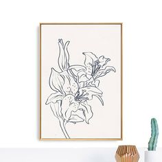 Large Printable Flower Art Print.  Orchid  A hand-drawn in charcoal, Botanical Wall Art. A minimal, contemporary, flower print. Off-white/light-cream background.   The artwork has been photographed and then made into a digital file that you can download and print out.   This printable