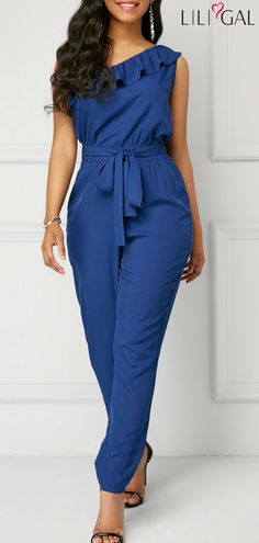 >>>Cheap Sale OFF! >>>Visit>> Belted Ruffle Detail One Shoulder Jumpsuit Blue Fashion, Fashion Wear, Look Fashion, African Fashion, Fashion Outfits, African Lace Styles, One Shoulder Jumpsuit, African Dress, Jumpsuits For Women