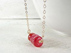 Red Jade Necklace, Red Stone Disk Necklace, Semi-Precious Gemstone Bar Necklace, Rose Gold Filled Chain, Natural Modern Artisan Jewelry by RedGarnetStudio