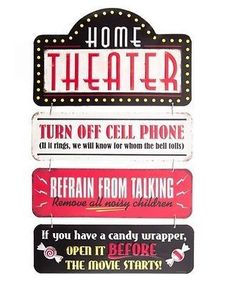 New Home Theater Linked Embossed Tin Sign, vintage charm, shabby chic decor