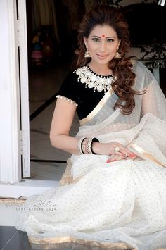 sheerdevi chowadary in white net saree