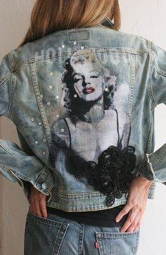 Levi Denim Jacket Hand Painted Original by Ralph Burch and enhanced and embellished with Swarovski Crystals and Floral Applique