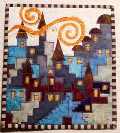 Happy Villages quilt by Lene Alve (Finland).  Inspired by Karen Eckmeier.