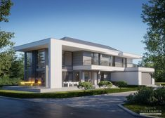House in modern style with usable area Modern House Facades, Modern Exterior House Designs, Modern House Design, 5 Bedroom House Plans, House Floor Plans, Contemporary House Plans, Modern Contemporary, Model House Plan, Modern Mansion