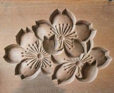 Japanese Antique Kashigata Sakura Cherry Blossom w Cover Carved Wooden Cake Mold | eBay