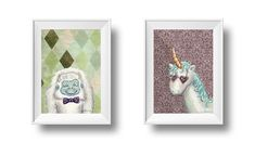 Set of 2 digital downloads - unicorn and yeti portraits