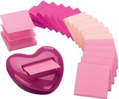 Pink Post-it Notes With Heart-Shaped Dispenser