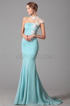 Elegant Trumpet Lace Neck Light Blue Evening Dress Formal Gown (00150632)