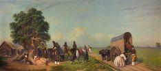 """  Prilidiano Pueyrredón   """"Un alto en el campo""""   1861   Óleo sobre tela   75,5 x 166,5 cm.   Inv. 3187   http://www.mnba.gob.ar/coleccion/obra/3187  """
