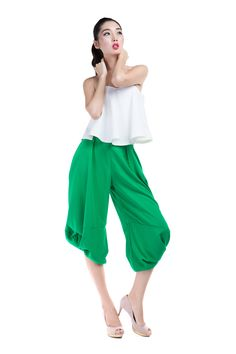 Japanese origami inspired harem pants with an unique twist of fabric to create a bubble-like effect.   This care-free pants is extremely versatile - wear it on a casual weekend,  pair with a crop top and sneakers or create a sassy look for the night out with a fancy bustier top and sexy heels. Available on Amazon US: www.amazon.com/shops/allabout8