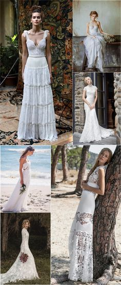 Vintage bohemian wedding dresses boho bridal gowns / http://www.deerpearlflowers.com/beautiful-bohemian-wedding-dresses/