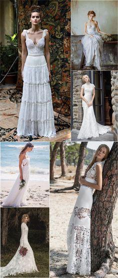 Vintage bohemian wedding dresses boho bridal gowns / http://www.deerpearlflowers.com/beautiful-bohemian-wedding-dresses/