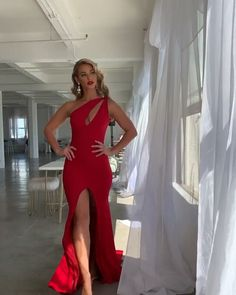 Sexy Mermaid One Shoulder Red Long Prom/Evening Dress Keyhole Gala Dresses, Satin Dresses, Sexy Dresses, Dress Outfits, Chiffon Dresses, Long Dresses, Dress Long, Fashion Dresses, Formal Dresses