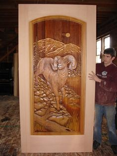 Beautiful wood carved door from the Great River Door Company, Inc. Painted Doors, Wood Doors, Entry Doors, Front Doors, Door Gate Design, 3d Cnc, Garden Angels, Unique Doors, Architectural Features