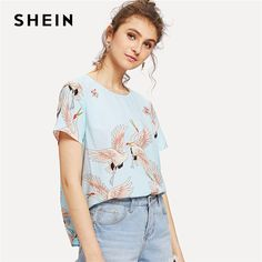f177ca00edb1f3 US $15.0  SHEIN Blue Weekend Casual Red crowned Crane Print Round Neck  Short Sleeve Regular Fit Blouse Summer Women Going Out Shirt Top -in Blouses  & Shirts ...
