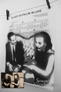 Custom Portrait Spray Paintings on Your Choice of Sheet Music - Made to Order Spray Paint Artwork, Spray Paint Colors, Spray Painting, Spray Paint Techniques, First Dance Lyrics, Music Painting, Photo Proof, Vintage Sheet Music, Wedding Songs
