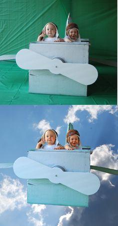 DIY Cardboard box plane + photoshop elements (green screen not necessary). toddler pilot hats $4 on ebay.