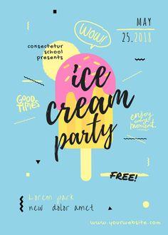 Creative Design Idea: Ice Cream Party Flyer Design Idea