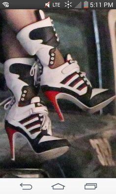 shoes harley quinn sneakers sneaker heels lace up heels lace up sneaker heels… Harley Quinn Disfraz, Harley Quinn Cosplay, Joker And Harley Quinn, Harey Quinn, Margot Robbie Harley Quinn, Punk, Sneaker Heels, Lace Up Heels, Me Too Shoes
