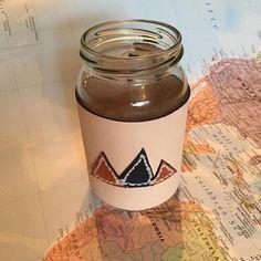 The 'Mountain Range' Mason Jar leather and paracord