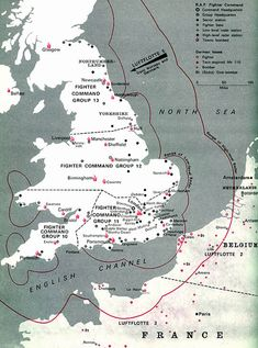 How England was divided into areas for the different RAF Groups to look after. From Blackout and All Clear by Connie Willis.