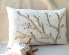 Hand Embroidered Coral Pillow, Golden Cream on Ivory, Hand Made Nautical Decor via Etsy Coral Pillows, Throw Pillows, Coral Design, Lace Table Runners, Burlap Fabric, Decorative Pillow Covers, Beach House Decor, Coastal Decor, Creations