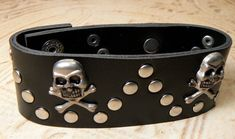 Black Skull And Crossbones Snap Bracelet Pewter by simplybetty