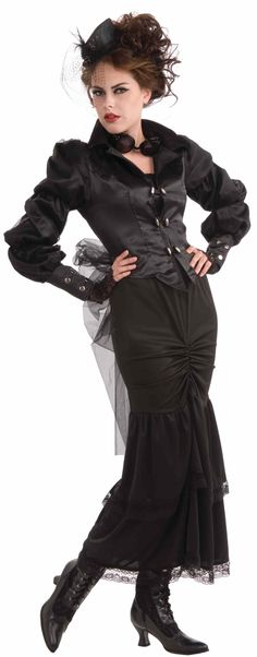 Woman's Steampunk Victorian Lady Costume, Black, One Size