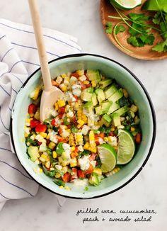 Corn, Cucumber, Peach & Avocado Salad Recipe- summer perfection - Love and Lemons