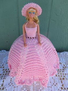 Crochet homemade dress for Barbie doll  candy pink