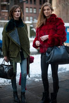 New York fashion week autumn 2013 model street style, model off duty style That green coat though  @biancaivey  #fortheloveoffashion