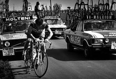 Eddy Merckx won Paris-Roubaix on three occasions, in 1968, 1970 and 1973. Here is Merckx after a flat tyre during the 74th edition of the race, in 1976.