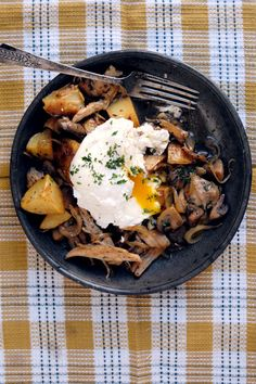 Crisp and hearty, this chicken and potato hash is perfect with a poached egg on top. #BrunchWeek