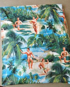 Robert Kaufman Fabric, Men on a Beach, Bodybuilders Fabric, Printed Cotton, Kaufman Screen Print 4199, Palm Trees, Beach Scene Fabric by sewbettyanddot on Etsy