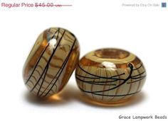 ON SALE 30 OFF Seven Transparent Brown w/Beige by gracebeads, $31.50