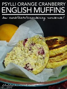 Low carb keto Orange Cranberry English Muffins make a great addition to any low carb meal. 5g Total Carbs, 3g Net.