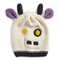 purpleLeigh Tucker Willow Animal Beanie Hat Cow Hat, Cute Cows, Beanie Hats, Mittens, Horns, Little Ones, Knitted Hats, Knitting, Purple