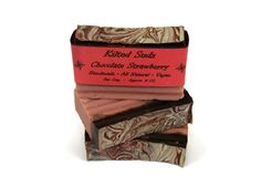 Chocolate Strawberry Bar Soap, Vegan Bar Soap, Natural Bar Soap, Chocolate Soap, Strawberry Soap, Handmade Soap, Vegan Soap, Free Shipping - pinned by pin4etsy.com
