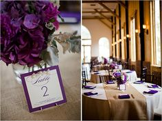 purple table center pieces - I love these tables and the pearl table cards but I would put colorful flowers in the middle.  LOVE!!!