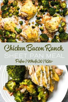 This chicken bacon ranch sheet pan meal is perfect for busy weeknights. This quick and easy recipe is low carb, paleo and compliant. The blend of flavors is perfect for the whole family sheetpanmeals paleo lowcarb keto 392516923773131682 Paleo Chicken Recipes, Paleo Recipes, Healthy Dinner Recipes, Real Food Recipes, Cooking Recipes, Paleo Dinner, Keto Chicken, Ketogenic Recipes, Easy Cooking