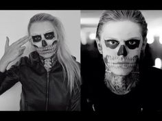 ▶ TATE LANGDON (EVAN PETERS) SKULL MAKEUP TUTORIAL♡ AMERICAN HORROR STORY SERIES - YouTube