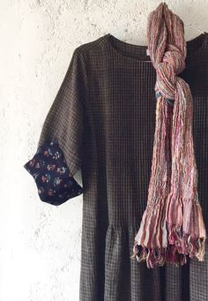 springy silk wool lycra neck scarf & smock shift with block print cuff natural dyes