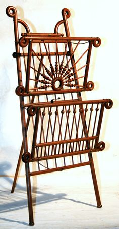 "C1890 Stick & Ball Victorian Easel Music Stand, Magazine Rack, Solid Oak , 46"" V"