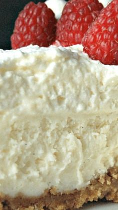 Vanilla Bean Cheesecake with White Chocolate Mousse ~ absolutely the BEST CHEESECAKE ever... a layer of white chocolate mousse on top of the cheesecake layer, It's so creamy and luscious, it's CRAZY good.